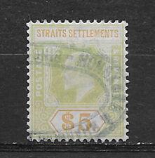 STRAITS SETTLEMENTS , MALAYA , 1902 , EDWARD VII , 5$ STAMP , USED , CV $190.00