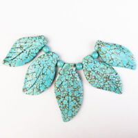 5pcs Carved blue Turquoise leaf pendant bead Set 51x25x5mm,42x20x5mm
