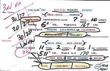 Bruce Buffer Alex Oliveira Signed Used UFC Fight Night 70 v Joe Merritt Card PSA