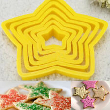 6pcs/set 3d Cookies Cutters Five-pointed Star Christmas Tree Baking Cake Mold