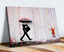 BANKSY COLOURED RAIN CANVAS WALL ART PICTURE PRINT - STREET ART