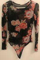 KANJI Woman's Floral Black & Pink Bodysuit Size Medium Sheer