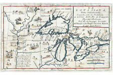 Map Of The Great Lakes; Antique Historic Map by Coronelli 1695