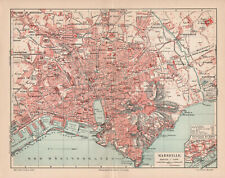 Antique map. FRANCE. CITY MAP OF MARSEILLE. 1905