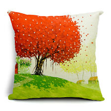 Vintage Linen Hemp Cotton Couch Sofa Cushion Cover Pillow Red Tree 45X 45 cm