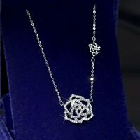 18k white gold gp made with swarovski crystal rose flower pendant necklace