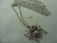 "A Spider Tibetan Silver Charm Pendant, Long ( 30"" ) Chain Necklace"