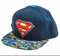 Men's Navy DC Comics Superman Graphic Visor Print Snapback Baseball Hat Cap