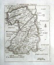 Cambridgeshire, John Roque, Angleterre affichées, antique County Carte 1769