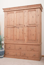 SOLID PINE WARDROBE | Triple 3 Door | 5 Drawer | HANDMADE | DOVETAILED | WAXED
