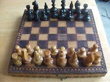 Vintage  Pokerwork Travel Chess Set with Folding Board/Box