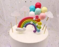 3pcs Colorful Rainbow Ballon Cake Topper Birthday unicorn Cake decorate NEW 2019