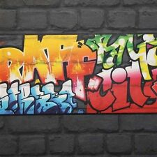 BLACK GRAFFITI WALLPAPER BORDERS - RASCH 237900 - NEW