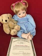 Ashton-Drake Galleries Hannah Needs A Hug 13 Inch Porcelain Doll Nib/Coa 1992
