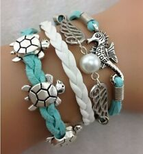 NEW Hot Infinity Love tortoise/Wing Leather Cute Charm Bracelet Silver  SL218D