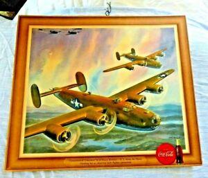 ORIGINAL VINTAGE LITHO POSTER COCA COLA US AIR FORCE PLANES LIBEATOR BOMB  1943