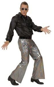 Silver Holographic Sequin 70s Disco Trousers Mens Fancy Dress M + XL