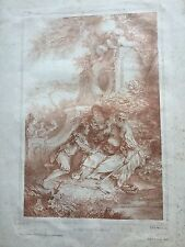 "19th Century Charles E'mile Wittier Etching ""The Fountain Of Love"""
