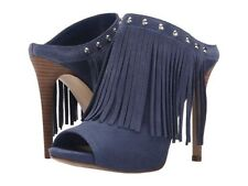 GUESS 7m Blue Suede Ara Studded Fringe Mule Slides PEEP Toe Sandals HEELS