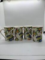 Kent Pottery 1887 Porcelain Mugs Fruit Design Set Of 4