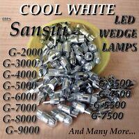 (4) G-8000 G-8700 COOL WHITE 8v T-10 LED WEDGE LAMPs sansui  G-9000 G9700