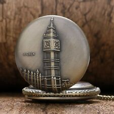 NEW Bronze Big Ben London Quartz Pocket Watch Necklace Pendant Xmas Gift P82