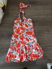 ASOS Size 14 Floral Halterneck Mini Dress Pink Red Summer Holiday Beach