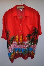 Hawaiian red short sleeve shirt in size large disco summer festival