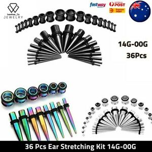 36pcs Ear Stretching Kit Plug Set Stretch Ear Taper Expander Stretcher Tapers AU
