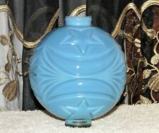 ANTIQUE BLUE MILK GLASS STARS and SWAG LIGHTNING ROD BALL