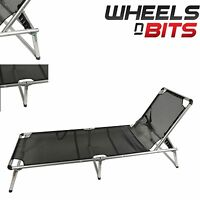 Sun Lounger Garden Patio Beach Recliner Chair Outdoor Furniture Aluminium Black