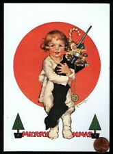 Vintage Christmas Little Girl Stocking Doll Toys - Christmas Greeting Card New