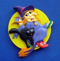Hallmark MAGNET Halloween Vintage WITCH Black CAT  Heartline Holiday Fridge