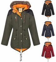 Plus Big Size Womens Fishtail Parka Jacket Coat Quilted Faux Fur Hood Zip 16 -20
