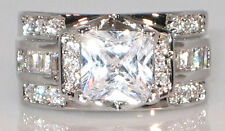 INTRICATE 4 CT Princess Cut Cubic Zirconia Bridal Engagement Wedding Ring SIZE 6