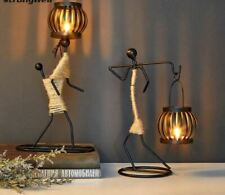 Nordic Metal Candlestick Character Sculpture Candle Holder Handmade Figurine Gif