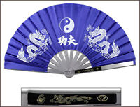 "14.75"" OVERALL BLUE DRAGON & TAICHI KUNG FU FAN METAL FRAME MARTIAL ARTS WEAPON"