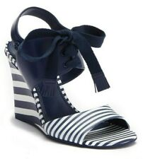 $295 Tory Burch Maritime Women's Leather Wedge Heel Sandals Blue / White Size 10