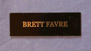 Brett Favre Nameplate decal metal memorabilia gold color name black 3x1 inch