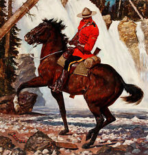 Canadian Mountie RCMP On Horse WaterFall