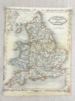 1848 Antik Map Of England Wales Britische Inseln 19th C Hand- Farbig Gravur