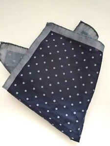 PETER MILLAR NWT Pocket Square Made in Italy Navy Pin Dot Cotton Handkerchief