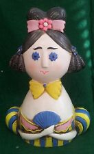 "VINTAGE FUNKY COIN BANK - STYLIZED REGENCY WOMANS BUST - JAPAN - 7 1/4"" TALL"