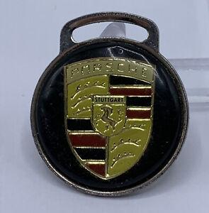 "Key Chain Porsche Emblem Stuttgart Black Red Gold Tone Vintage 1.5"""