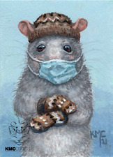 KMCoriginals PRINT Rat Bernie style knitted mittens cap Reproduction ACEO art
