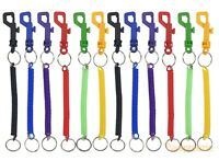 """12 Pcs Spiral Bungee Coil Cords Keychain Split Key Ring Elastic Snap Trigger 6"""""""