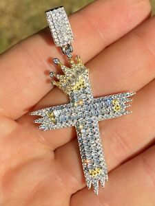 Solid 925 Sterling Silver Large Men's Cross W. Crown Pendant Baguette Diamond