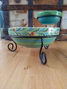 Southern Living at Home Gail Pittman Provence Chip and Dip Bowl Set Green Blue