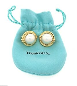 Genuine Ladies Tiffany & Co. 18K Yellow Gold 14mm Pearl Clip-On Earrings