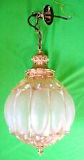 Old vintage mid century large gilt brass & lustre glass ceiling light pendant